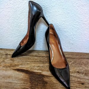 Black Leather Coach Pointed Toe Pumps